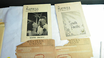 PLAYBILL SOUTH PACIFIC Majestic Theatre  1952  with Western Union Telegraphs