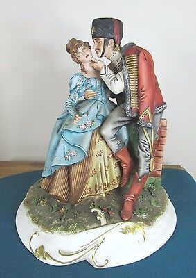 Capodimonte Figure Of Napoleonic Soldier Courting A Lady - Ipa