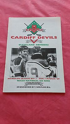 Cardiff Devils v Cleveland Bombers March 1989 Ice Hockey Programme