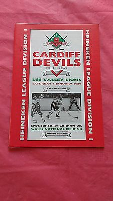 Cardiff Devils v Lee Valley Lions January 1989 Ice Hockey Programme