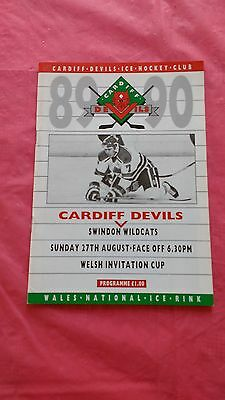 Cardiff Devils v Swindon Wildcats 1989 Welsh Cup Ice Hockey Programme
