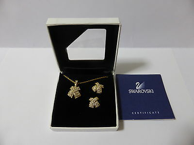 Swarovski Silver Crystal Signed Necklace And Pierced Earrings Set New Boxed