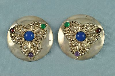 Modernist TULLA BOOTH Sterling Silver Disc Gemstone Clip Earrings