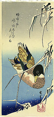 """Outstanding HIROSHIGE Japanese woodblock print:  """"WILD DUCK IN REEDS AND SNOW"""""""