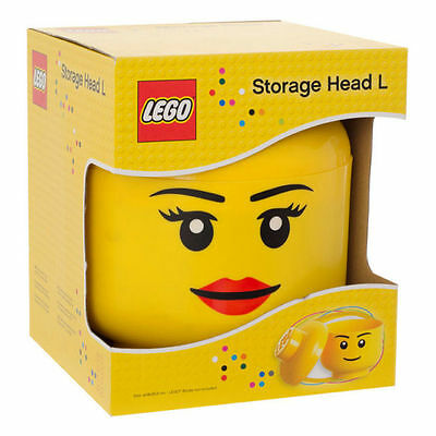 Lego Large Storage Head *girl* Stackable Yellow Container *new* Store Toy Bricks