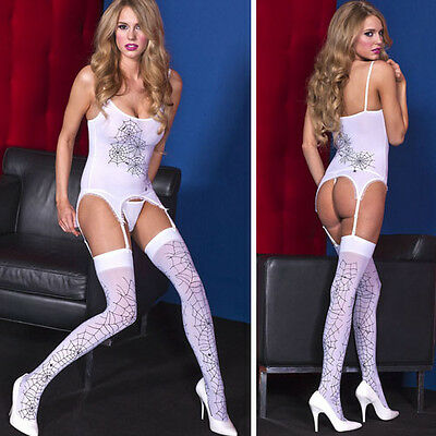 White Black Spider Web Print Tank Top Garter Strap Thigh Highs Stockings Set OS