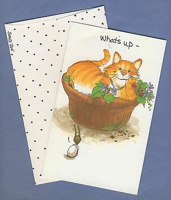 """Vintage Suzy's Zoo Ol' Fred Orange Tabby Cat Sitting in Flower Pot """"What's Up"""""""