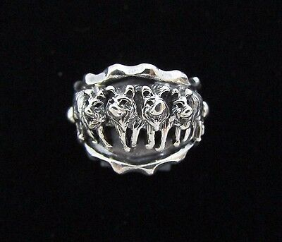 Native American Sterling Silver wolf Ring Size 11 Signed RB