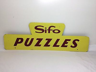 """Vintage SIFO PUZZLES SIGN Toy Store Masonite Advertising Display 60s 24"""""""