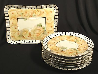 Prov Saxe E.s. Germany Porcelain Hand Painted Dessert Set Serving Tray 6 Plates