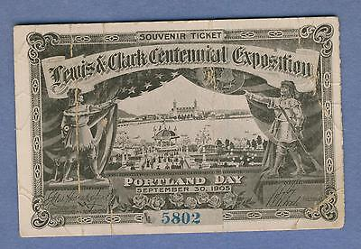 Lewis & Clark Centennial Exposition Souvenir Ticket September 30, 1905 #5802