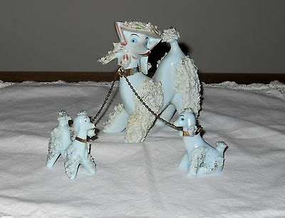 Vintage Blue Spaghetti Poodle Wearing Hat Chained to 2 Babies