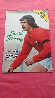 Leeds v Vancouver Whitecaps 1980 David Harvey Testimonial Football Programme