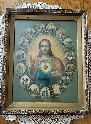 """Antique German Chromolithograph The Story of Jesus Sacred Heart 16""""× 19.5 Framed"""