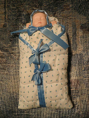 """Bisque Baby Doll in Bunting Bag - Artist Made 1982 Gjt - 12"""""""