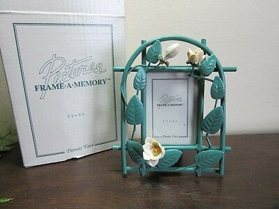 "1996 Dennis East Picture Frame.Meta flowers. 2 1/2"" x 3 1/2"""