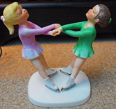 Roman 1983 Ice Capades Ice School 2 Girl Skaters In Pink & Green Figurine