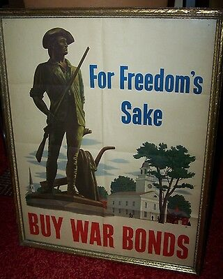 "US War Bonds Poster ""For Freedoms Sake"" WWII, Minuteman, 1942"