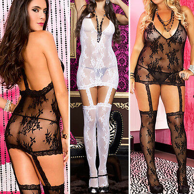 Sheer Lace Mini Dress Bodystocking Garter Thigh High Stockings Med/Plus Size