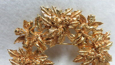 "Vintage Kirks Folly Holly Brooch With 4 Cherubs/Angels ""Signed"""