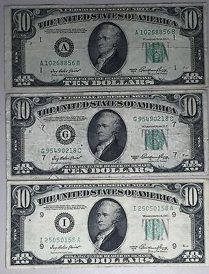 3 -1950A $10 FRN Notes Districts Boston, Chicago & Minneapolis