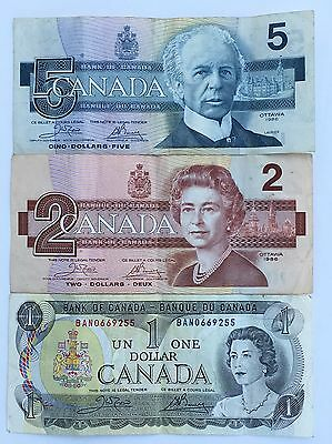 Canadian Bank Notes & Coins Face Value $9.21 (1973 $1) (1986 $2 & $5)