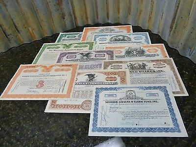 Lot Of 10 Vintage Authentic Stock Certificates 20's-50's Free Shipping Included