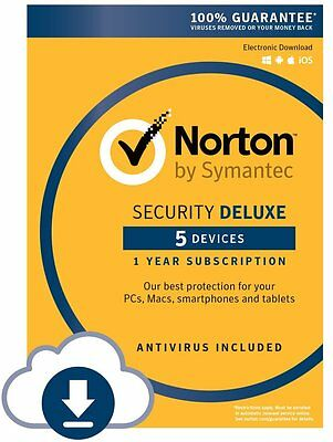 Norton Security Deluxe 2017 (for 5 Devices) --- PC/Mac/Mobile Download Code