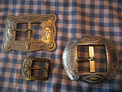 Lot of 3 Vintage Western Belt Buckles Long Horns , Arrows & More (2 are Tin)