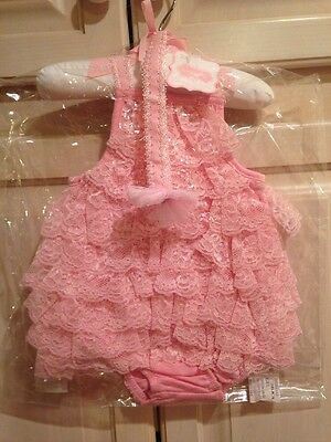Ruffle Bubble And Head Band Mud Pie Baby Girl 9-12 Months NWT