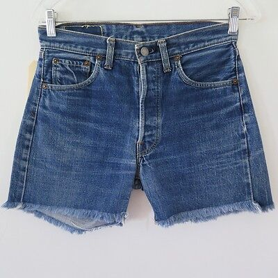 VINTAGE ORIGINAL LEVIS 501 XX BIG E JEANS CUT OFF SHORT DENIM W29 1960's