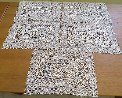 5 Antique Lace Placemats Needlelace Table Place Mats Set Reticella Cotton Ecru