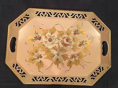 "Vintage Metal French Toleware Hand Painted Pink Tray 18 1/2"" X 13 1/2"""