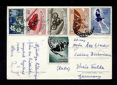 OPC 1956 San Marino to Germany RPPC Seconda Torre Multi Issues