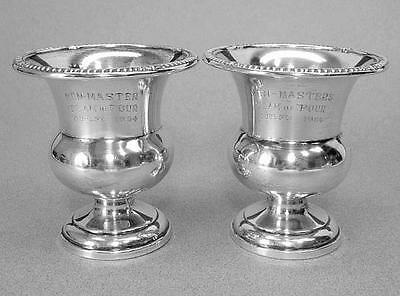 Pair of Birks Sterling Silver Urn Vases Non-Masters Team of Four Guelph 1964