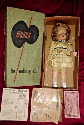 """1950's Wanda the Walking Doll 18"""" with Original Box, Instructions & Papers GREAT"""