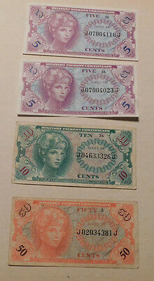 Set of 4 Crisp Uncirculated (Series 641) Military Payment Certificates MPC