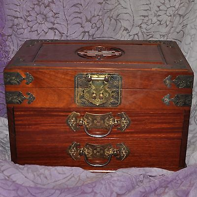 Chinese Wooden Jewelry  Box Chest Drawers Top Tray Red Satin Lined Ornate Pulls