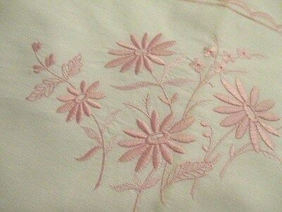 Vintage French Sheet Pretty Pink Embroidery and Scallop Trimmed. 3 metres long
