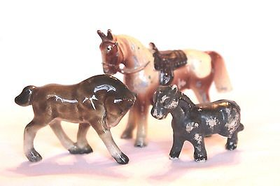 Vintage Lot Miniature Horse Figurines - Cast Metal & Ceramic - All Made in Japan