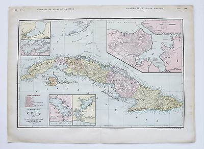 1913 Cuba Railroad Map Havana Harbor Commercial Atlas Large Double Page Original