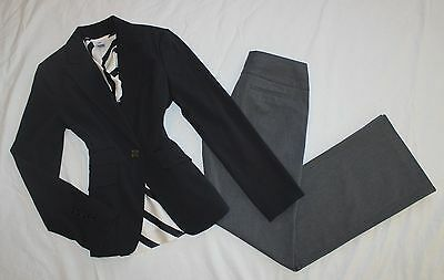 EXPRESS Size 2 Women's Pant Suit Gray Black Ivory w/ Blouse PERFECT! Editor
