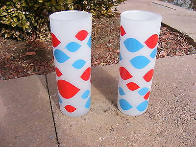 Lot Of 2 Old Vintage Frosted Dairy Queen Glasses 1960's Promotional Advertising