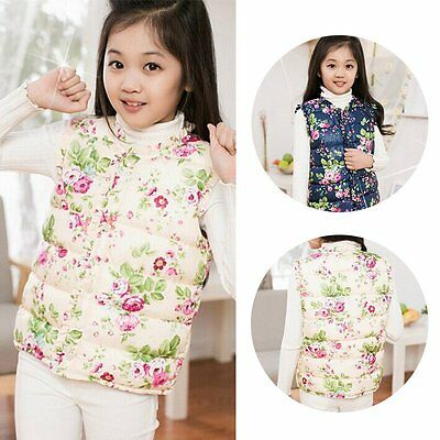Baby Girls Kids Winter Warm Cotton Vest Coat Jacket Outerwear Waistcoat 2-7Y