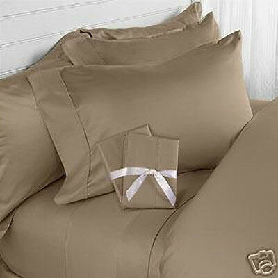 Queen Size Taupe Solid Bed Sheet Set 800 Thread Count 100% Egyptian Cotton