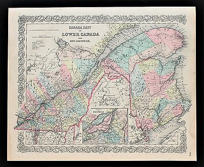 1856 Canada Map Montreal Quebec New Brunswick Railroads Colton ORIGINAL RARE