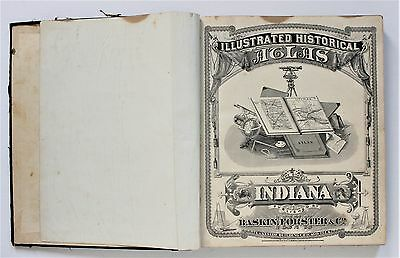 1876 Indiana Atlas Complete Maps Illustrated Historical State ORIGINAL RARE