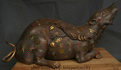 "28 "" Old China Bronze Cloisonne Gold Feng Shui Big Mouse Rat Wealth Lucky Statue"