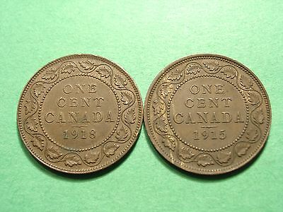 Canada lot of 2 Large Cents 1915 - 1918 High Grade Condition