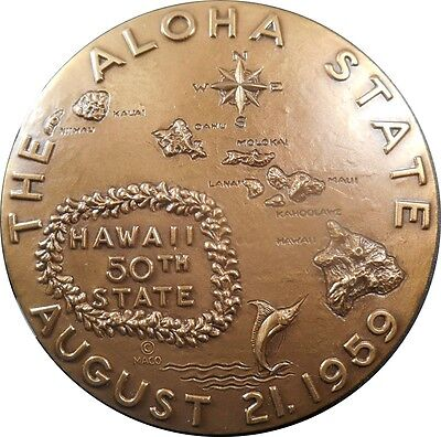 1959 Large Official Hawaii Statehood Bronze Medal by Spero Anargyros MACO